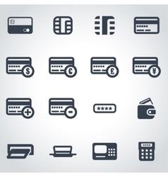 Black credit card icon set vector
