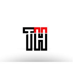 Black white alphabet letter th t h logo icon vector