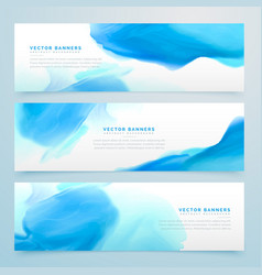 Blue ink watercolor banners set vector