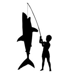Boy catches shark vector