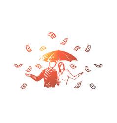 business financiers with umbrella under cash rain vector image