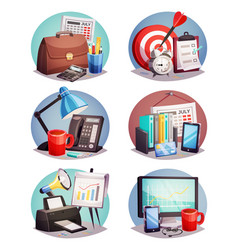 business office round icons set vector image