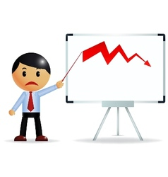 Businessman and diagram of crisis vector image