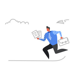 businessman running with briefcase paper documents vector image