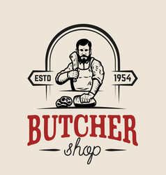Butchery butcher design element for logo label vector