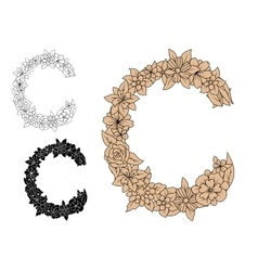 Capital letter C with blooming flowers vector