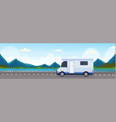 caravan car traveling on highway recreational vector image