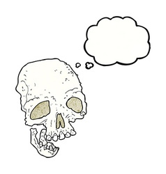Cartoon ancient spooky skull with thought bubble vector