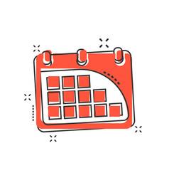 cartoon calendar icon in comic style agenda vector image