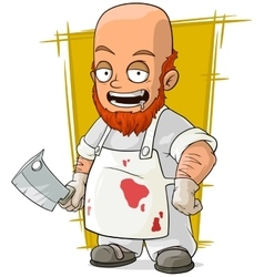 Cartoon crazy bald butcher in white apron vector image