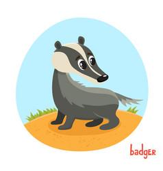 Cartoon of wild animal badger vector