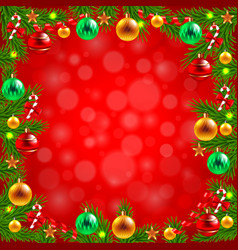 Christmas tree branches around red background vector