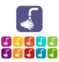 cleaning hands icons set flat vector image