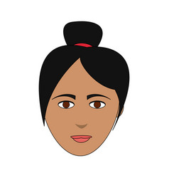 Color image cartoon front face asian woman with vector