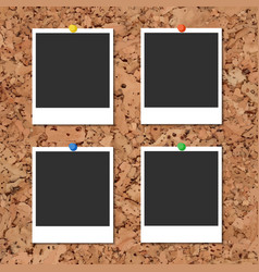 cork board with photo cards and color pin vector image