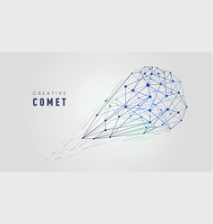 creative low poly comet wireframe mesh structure vector image