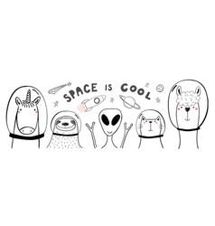 Cute space animals vector