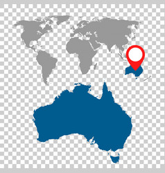 Detailed map australia and world map vector
