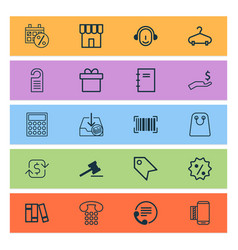 e-commerce icons set with hanger sales day vector image
