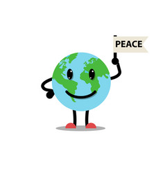 earth planet and flag peace vector image