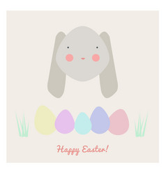 Easter with rabbit and eggs vector