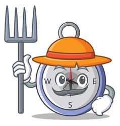 farmer compass character cartoon style vector image