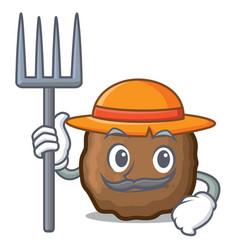 Farmer meatball character cartoon style vector