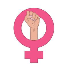 Feminism symbol with female fist raised up girl vector