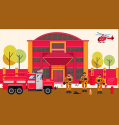 Fire station firefighters men vector