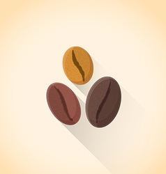 Flat various coffee beans set icon vector