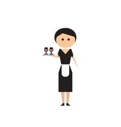 Flat web icon on white background girl waitress vector