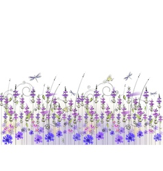Floral background wildflowers vector