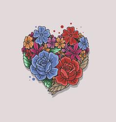 Floral rose heart shape vector