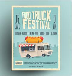 Food truck festival poster flyer vector
