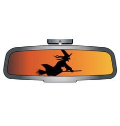 Halloween rear view mirror vector