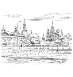 hand drawing moscow-4 vector image
