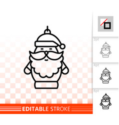 hanging santa claus simple black line icon vector image