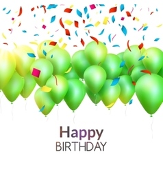 happy birthday card with green balloons and vector image