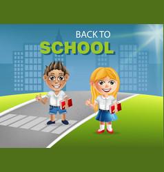 happy school little girl and boy cartoon vector image