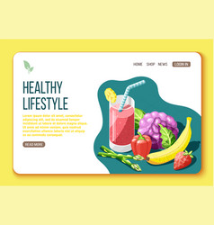 healthy lifestyle isometric landing page vector image