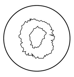 Hole in the surface icon black color in circle vector