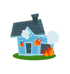 House on fire property insurance vector