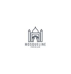 Islamic mosque gate line outline logo icon vector