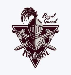 Knight helmet and crossed swords emblem vector