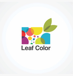 leaf colorful on bubble logo icon element and vector image