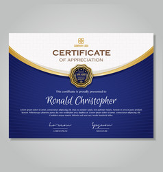 luxury gold blue certificate template vector image
