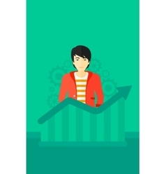 Man with growing chart vector