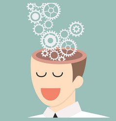 mechanic gears in human head vector image