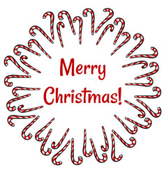 Merry christmas candy canes wreath holiday vector