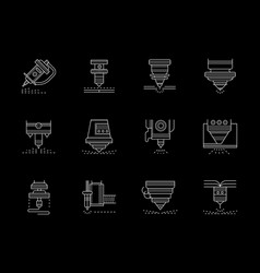 Metalworking lasers flat white line icons vector
